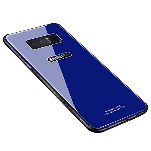 y Note 8 Case, MAKAVO Tempered Glass Back Cover Silicone Bumper Hybrid Anti-Scratch Shockproof Protective Hard Shell for Samsung Galaxy Note8 2017 (Blue) ()