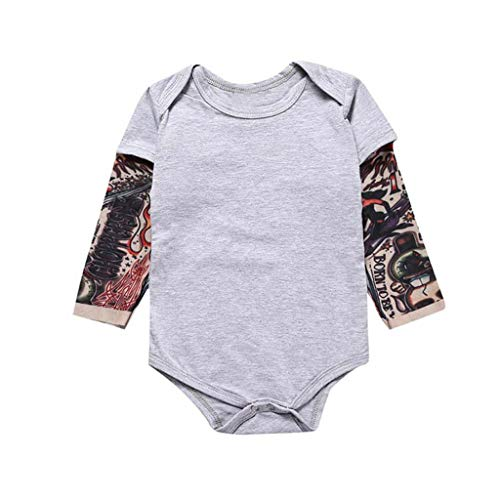 Newborn Infant Baby Boy Girl Romper Outfit Fashion Tattoo Printed Long Sleeve Romper One-Piece Bodysuit (Age:18-24 Months, Gray)