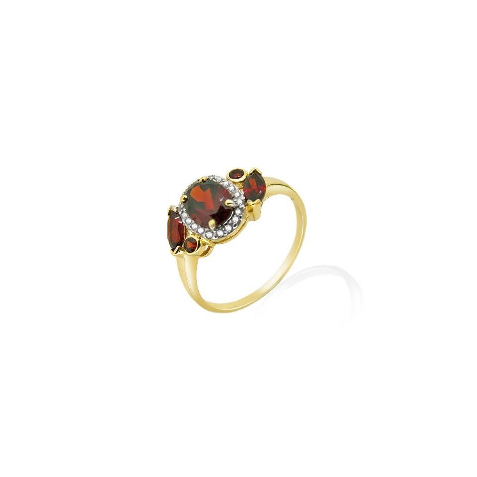 9ct Yellow Gold Garnet & Diamond Ring Size 9