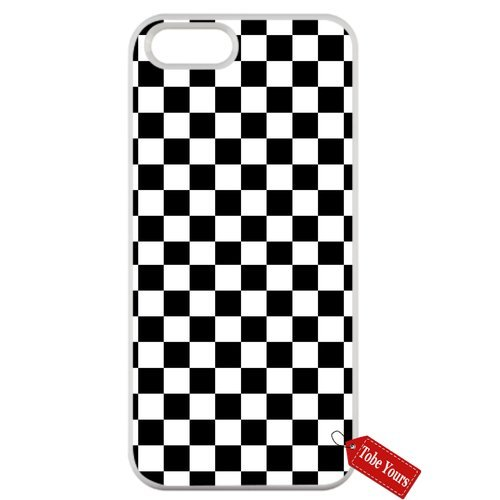 Tobe Yours Hard Phone Case Black White Checkered Protective Anti-Scratch Apple iPhone Case White- iPhone 8 Plus