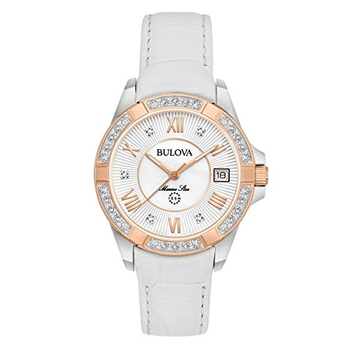 Collection Marine Ladies Watch Star (Bulova Women's Quartz Stainless Steel and Leather Casual Watch, Color:White (Model: 98R233))