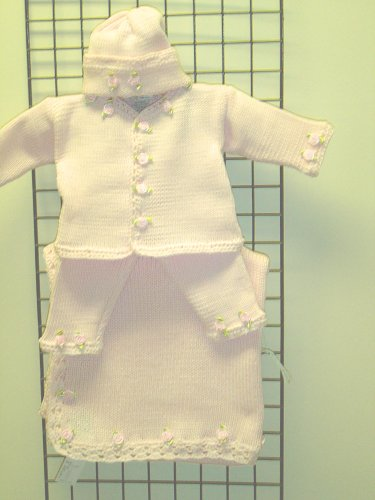 Baby Pink Cotton Infant Girls Outfit, Cardigan, Pant, Hat and Matching Blanket