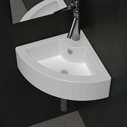 Corner Ceramic Wash Basin Bathroom Sink, White