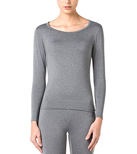 LAPASA Women's Lightweight Thermal Underwear Top Fleece Lined Base Layer Long Sleeve Shirt L15 (Dark Grey, Small)