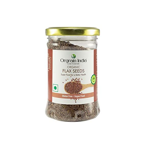Orgrain India Certified Organic Flax Seeds - 150 GMS ( Pack of 2) 300gms