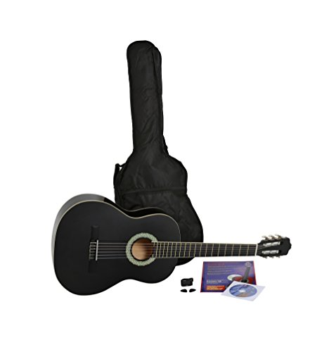 NAVARRA Konzertgitarre 4/4 STARTER SET schwarz mit cremefarbigen Randeinlagen, incl. Tasche leicht gepolstert mit Rucksackriemen, Lehrbuch mit vielen Hits und CD, Cliptuner (Stimmgerät) mit LCD-Nadelanzeige mit Hintergrundbeleuchtung, 2 Plektren
