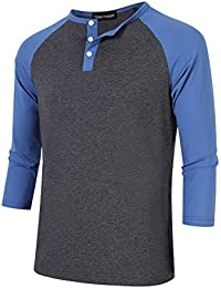 Men Casual 3 Button Crew Neck 3/4 Sleeve Raglan Baseball Jersey Henley T Shirts