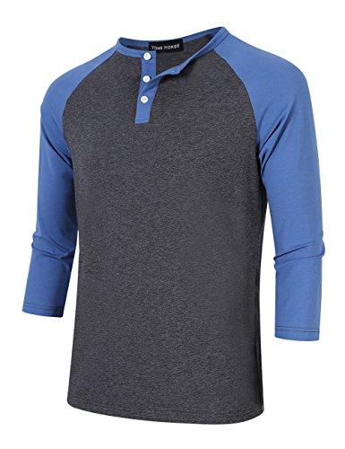 3/4 Sleeve Raglan Baseball - Yong Horse Men Crew Neck 3/4 Sleeve Raglan Baseball Jersey Henley T Shirt (L, Blue)
