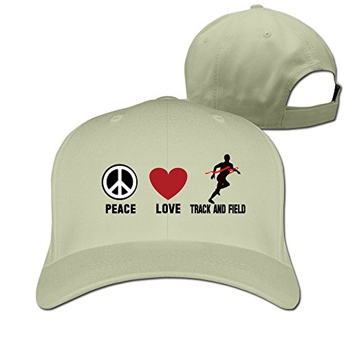 Mens Peace Love Track&field Adjustable Fitted Hat Baseball Hats