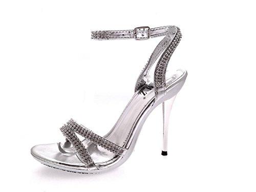 Lora Dora Womens Diamante High Heel Shoes Silver szVHGt