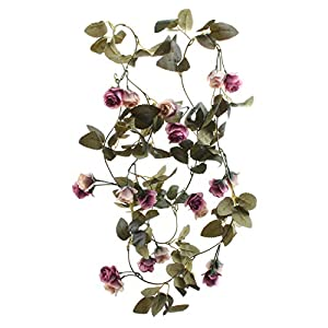 Flojery 6.8 Ft Silk Rose Vine Artificial Flowers Garland Hanging Plants for Wedding Arch Party Backdrop Home Decor (Pack of 2)(Vintage Purple)