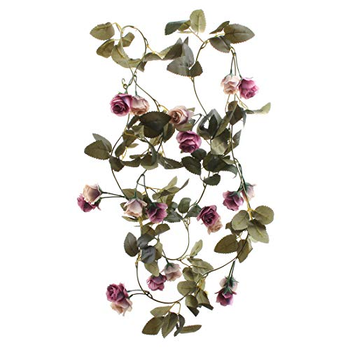 (Flojery 6.8 Ft Silk Rose Vine Artificial Flowers Garland Hanging Plants for Wedding Arch Party Backdrop Home Decor (Pack of 2)(Vintage)