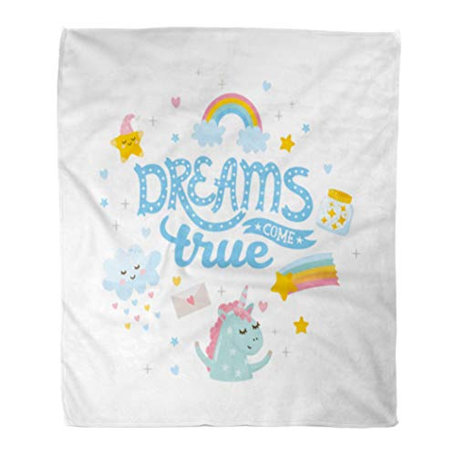 Emvency Flannel Throw Blanket Cloud Dreams Come True Nursery Baby Room Cute Unicorns and Magic Letters Birthday 50x60 Inch Lightweight Cozy Plush Fluffy Warm Fuzzy Soft