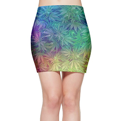 Galactic Nebula Cannabis Weeds Women's Mini Pencil Skirt Novelty Bodycon Short Skirt M