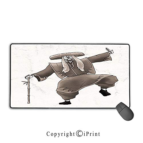 Gaming Mouse pad,Kabuki Mask Decoration,Orient Style Artist with Makeup and Costume Pose Dance Ancient Art Decorative,Umber White,Suitable for laptops, Computers, PCs, Keyboards, Mouse pad with Lock, -