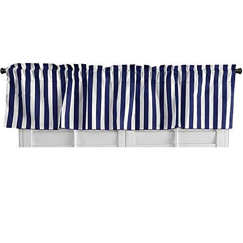 lovemyfabric Cotton Blend Striped Print Kitchen Curtain Valance Window Treatment (Navy Blue & White) (Valance Striped Window)