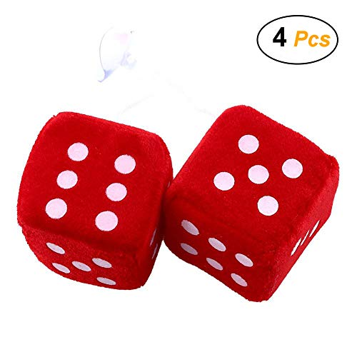 Easy 99 3.15 x 3.15 x 3.15 inch Plush Dice Hanging Dice with Suction Cup , Pack of 4 ()