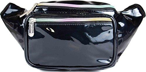 SoJourner Holographic Rave Fanny Pack - Packs for festival women, men | Cute Fashion Waist Bag Belt Bags (Glitter - Black) -