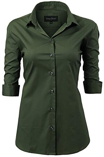 Button Down Shirts for Women Formal Work Wear Simple Army Green Shirts Size 18 ()