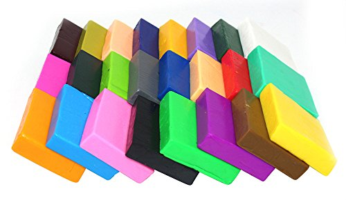 24 Largh Blocks DIY Colorful Fimo Polymer Clay Oven Baked Modelling Moulding for Kids Craft with Modeling Tools, Tutorials and Accessories,2.2 (Fimo Magic)