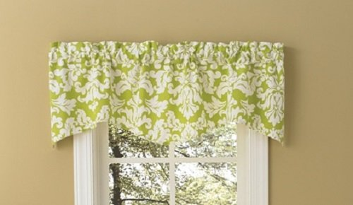 Chartreuse Green & White Elegant Floral Wave Lined Valance ()