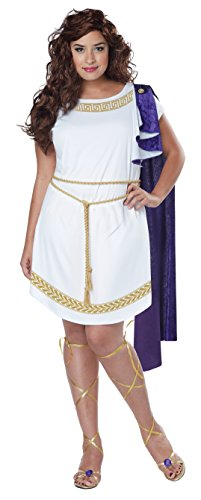 [California Costumes Women's Plus Size Grecian Toga Dress, White/Purple, 1X] (Grecian Sandals Costume)