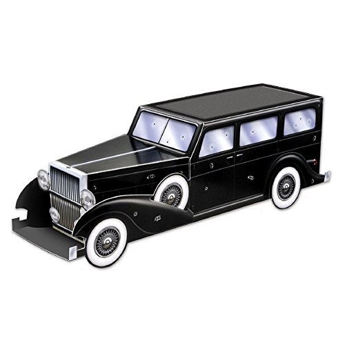 Club Pack of 12 Roaring 20's Themed 3-D Gangster Car Centerpiece Party Decorations 12