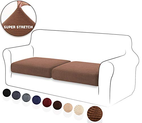 TIANSHU High Stretch Cushion Cover Sofa Cushion Slipcover Furniture Protector Sofa Seat Cover for Couch 2-Piece Cushions Covers for Loveseat, Coffee (Covers Couch Individual Cushion)
