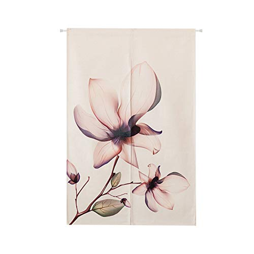 Magnolia Flower Watercolor Japanese Home Restaurant Noren Door Curtain Doorway Drapes Room Divider, 33.4