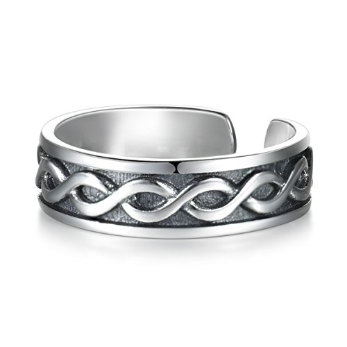 LYTOPTOP 925 Sterling Silver Thumb Ring Women Adjustable Celtic Knot Ring...