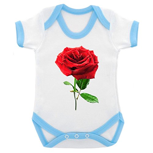 Single Rose Image Baby Bodysuit White with Blue Trim