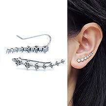 1 Pair 925 Sterling Silver Flowers Cubic Zirconia Ear Cuff Wrap Earring