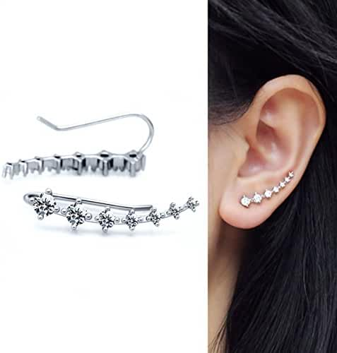 1 Pair 925 Sterling Silver Flowers Cubic Zirconia Ear Cuff Wrap Earring