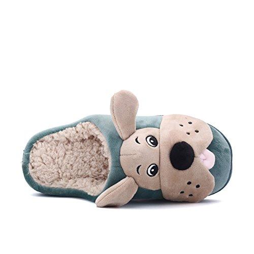 Inverno fankou cute cane elemento cartoon home giovane cotone e multi-colore opzionale in cotone leggero pantofole ,40, verde scuro