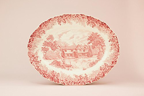Red and White Serving Platter Dish Meakin Romantic England Ightham Mote English Vintage 1950s (J G Meakin England)