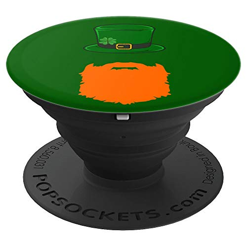 Funny St. Patrick's Day Pop Socket Leprechaun Orange Beard - PopSockets Grip and Stand for Phones and Tablets -