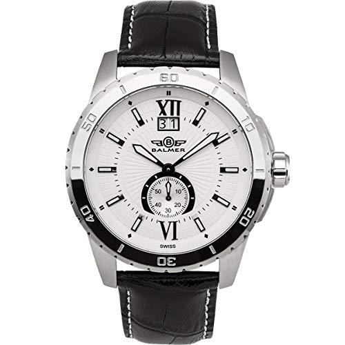 Balmer DB9 Mens Watch - Black Leather Strap, Silver Case, White Dial (Strap Silver White Dial)