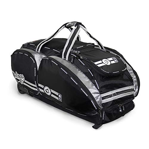 NO Errors NO E2 Catchers Bag with Fatboy Wheels - Wheeled Baseball Equipment Gear & Helmet Bags (Black)