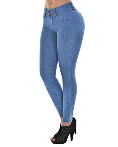 Mujer Azul Stretchy Jeans Cintura Casual Skinny Vaqueros Mezclilla Pantalones Vaqueros Alta Demin AftAZxPqnr