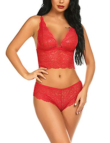 ADOME 2 Piece Lingerie Set for Women Sexy Lace Bra and Panty Babydoll Red, M