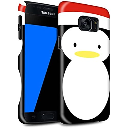 STUFF4 Gloss Tough Shock Proof Phone Case for Samsung Galaxy S7/G930 / Penguin Design / Christmas Character Collection Sales