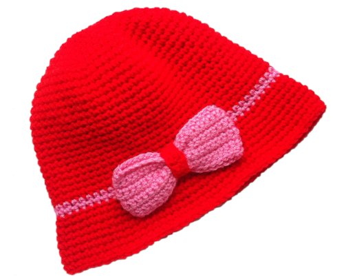 POM KIDS Crochet Flapper Hat : Red with Pink Bow by MOP