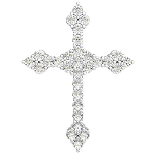 (14k White Gold Cluster Cross Pendant For Women 0.45 Cttw Round Real Diamond (HI Color, I1-I2 Clarity) Prong Set)