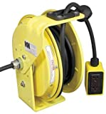 KH Industries RTB Series ReelTuff Industrial Grade Retractable Power Cord Reel with Black Cable, 12/3 SJOW Cable Prewired with Four Receptacle Outlet Box, 20 Amp, 25' Length, Yellow Powder Coat Finish