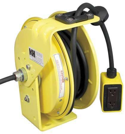 KH Industries RTB Series ReelTuff Industrial Grade Retractable Power Cord Reel with Black Cable, 12/3 SJOW Cable Prewired with Four Receptacle Outlet Box, 20 Amp, 25' Length, Yellow Powder Coat Finish by KH Industries