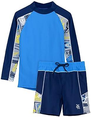 Tuga Boys Two-Piece Long Sleeve Swimsuit Set 2-14 Years, UPF 50+ Swimwear