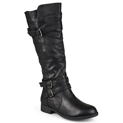 Journee Collection Womens Regular Sized Wide-Calf Knee-High Buckle Riding Boots Black, 9.5 Wide Calf US