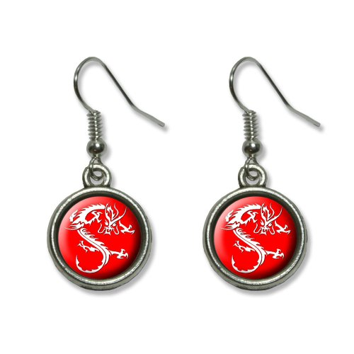 Asian Charm Earrings - Asian Chinese Dragon - Red Novelty Dangling Dangle Drop Charm Earrings