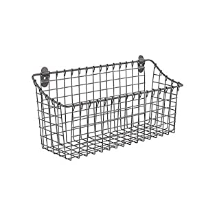 Spectrum Diversified Vintage Wall Mount Storage Basket, Extra Large, Industrial Gray