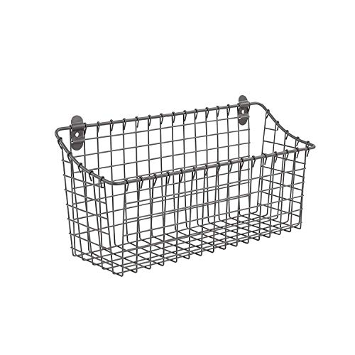 Spectrum Diversified Vintage Wall Mount Storage Basket Extra Large Industrial Gray